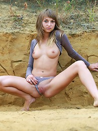 Beautiful Sandy Teen Showing Her Tight Pussy Outdoors